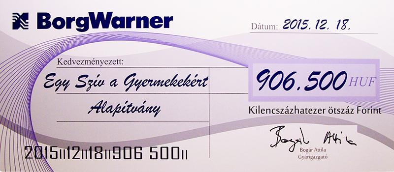 Alapítványunk közel egymillió forintos különleges adományt kapott BorgWarner Oroszlány Kft.-től.